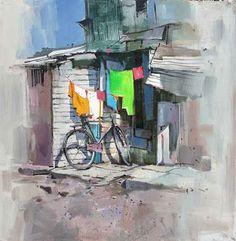 සිත්තර වරුණ: දිය සායම් චිත්රශිල්පී Millind Mulick -An Indian Artist Watercolor Architecture, Watercolor Landscape Paintings, Landscape Drawings, Watercolor Artists, Watercolor Sketch, Watercolor Illustration, Bicycle Art, Indian Artist, Indian Paintings