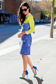 Bright Lime Sweater With Embellished Blue Skirt & Matching Clutch & Shoes