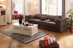 wohnideen wohnzimmer rotes sofa graue wände wanduhr wandkamin | q ... - Wohnzimmer Sofa Braun