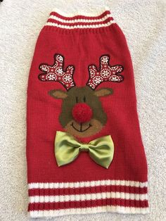 Dog Sweater Size M Pet Clothes Stuff Knitted Red Reindeer Green Bow Snow Antlers #Unbranded