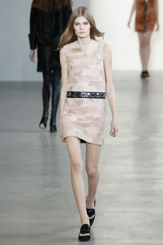 Blush leather/suede patchwork sheath dress from the Fall 2015 Calvin Klein Collection runway.
