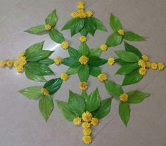 Best Ideas Simple Nature Crafts For Kids Leaves Rangoli Designs Flower, Colorful Rangoli Designs, Rangoli Ideas, Rangoli Designs Diwali, Rangoli Designs Images, Flower Rangoli, Flower Designs, Diwali Decorations At Home, Festival Decorations