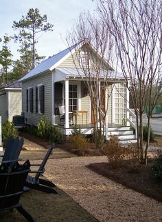 This is a 493 sq. studio style cottage designed by Our Town Plans. Inside you'll find a downstairs bedroom, reading nook, bathroom and kitchenette. Style Cottage, Cottage Design, Tiny House Design, Small House Swoon, Tiny House Living, House 2, Micro House, Small Living, Small Cottages