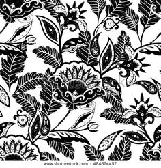 Black and white floral paisley pattern. Vector illustration