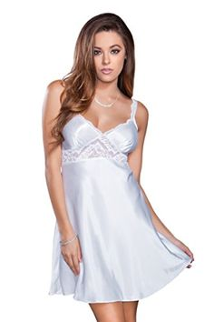 iCollection Women s Satin Chemise with Lace Underbust Detail  gt  gt  gt   Click image 04f146e50