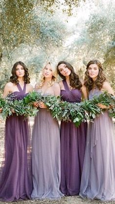 Dress colors-- you could have a lighter purple dress and bridesmaids have the darker purple