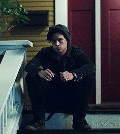 Jughead waiting for your oc on your ocs porch because they had done something.