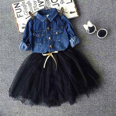 Buy Toddler Baby Girls Outfits denim shirt+Black tutu Skirt Kids Clothes Set at Wish - Shopping Made FunOur Autumn girls 2 piece Outfits Niños, Girls Fall Outfits, Little Girl Outfits, Little Girl Fashion, Toddler Girl Outfits, Baby Outfits, Toddler Fashion, Fashion Kids, Girls Dresses