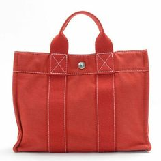 """Auth Hermes bag  BGCTT176 Authentic Excellent Tote Bag, perfect to go from day to night with the luxury & style of a fabulous HERMES Brand ! It is very hard to overlook this Tote Bag  Size:W11.8"""" x H8.7"""" x D3.1"""" ,  ,Material :canvas,  Color:  Red.  Please See All Photos For Further Details Hermes Bags Totes"""