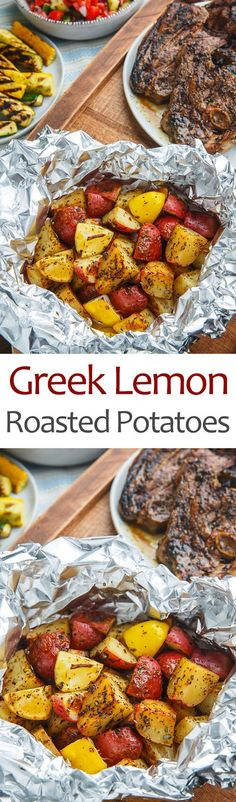 Greek Lemon Foil Roasted Potatoes Recipe : Greek style lemon , garlic and oregano foil roasted potatoes that are perfect in the grill or the oven! Lemon Roasted Potatoes, Roasted Potato Recipes, Veggie Recipes, Cooking Recipes, Healthy Recipes, Veggie Meals, Veggie Food, Quick Recipes, Amazing Recipes