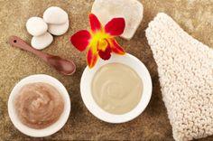 Spa still life orchid, mud mask, spoon sugar scrub, soap