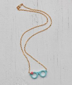 GLASSES Necklace Light Blue Tiny Glasses Pink by redtruckdesigns