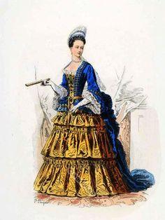 La Duchesse d´Orléans. Baroque costumes. 17th Century clothing. Louis XIV fashion. Court Dress in Versailles