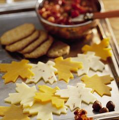 Fall Cheese Platter Recipe by Betty Crocker Recipes Cheese leaves from cookie cutter.