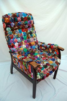 Suffolk Puff covered chair. Made for Thread and Thrift exhibition by Mandy Pattullo 2009