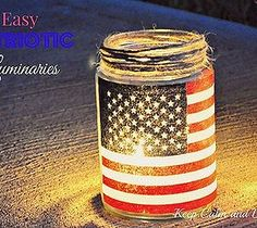 Easy Patriotic Luminaries This would be such a fun group craft (all ages). You can just have each guest bring a jar and a small flag, have on hand the othe items needed and your guests will have a memory candle.  Think we will hurry and gather materials to make some with our small gathering this weekend.  Happy Independence Day America and Prayers for our brave and true Men and Women in harms way.  God HAS blessed these United States of America!