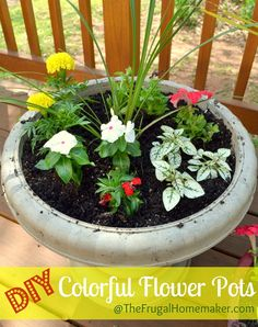 Color-filled flower pots {Sprucing up the Outdoors for Spring series} - The Frugal Homemaker Container Flowers, Flower Planters, Container Plants, Container Gardening, Flower Pots, Diy Flower, Garden Yard Ideas, Lawn And Garden, Garden Projects