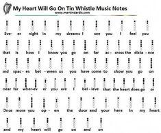 My Heart Will Go On Easy Tin Whistle Letter Notes music Recorder Notes, Recorder Music, Tin Whistle, Flute Sheet Music, Sheet Music Notes, Partition Flute A Bec, Irish Flute, Wooden Flute, Native Flute