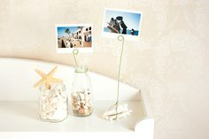 photo holders: so creative and cute! I especially love the one around the jar. :) good for a party!