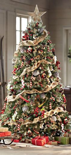 Christmas Tree with Burlap Ribbon