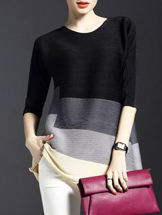 Shop Tunics - 3/4 Sleeve Casual Polyester Color-block Crew Neck Tunic online. Discover unique designers fashion at StyleWe.com.