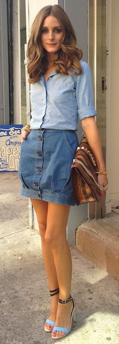 6f0f009ff Olivia Palermo: Denim on Denim. This can be a tricky look, but Olivia  balances the preppy denim shirt with the feminine skirt.