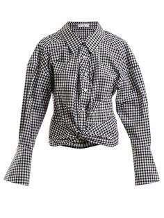 Caroline Constas Kos Twist-detail Gingham Cotton Shirt In Black White Kos, Matches Fashion, Gingham, White Shorts, Blazer, Black And White, Detail, Casual, Sleeves