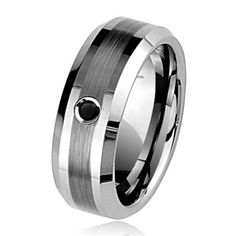 0.07 Cts Black Diamond 8 mm Beveled Edged Tungsten Wedding Band *** LEARN MORE @ http://www.finejewelry4u.com/jewelry100/14158/?144