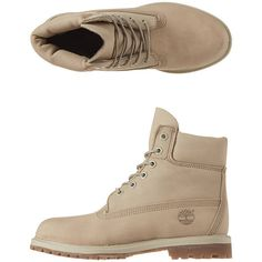 "Timberland - 6"" Premium Boots ($169) ❤ liked on Polyvore featuring shoes, boots, off white nubuck, waterproof boots, timberland footwear, timberland boots, water proof shoes and nubuck leather shoes"