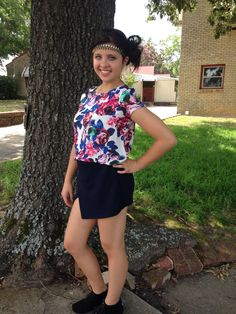Olive & Oak Collection navy wrap skirt & floral blouse...trendy & comfy! ❤️ headband by Pink Pewter...oolala!