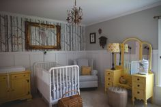 The combination of yellow and gray is one of the hottest trends we are seeing in the nursery. #gray #yellow #nursery