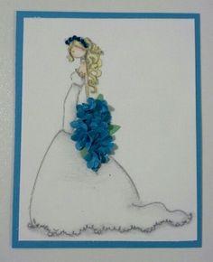 Cute for a wedding card using Stamping Bella - Uptown Girl Brigitte the Beautiful Bride stamp