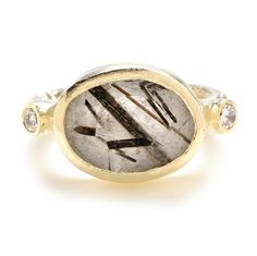 Abstract art: Sheila Fajl Rutilated Quartz Ring.