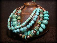 Turquoise Bracelet  Tribal Bracelet  Southwest von StoneWearDesigns