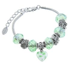 "Charmed Feelings Murano Style Glass  Light Green Charms Bracelet; 7.25"" + 1.5"" Extender"" Amazon Curated Collection,http://www.amazon.com/dp/B00BMQ0H86/ref=cm_sw_r_pi_dp_DZfCtb070QTGYARM"