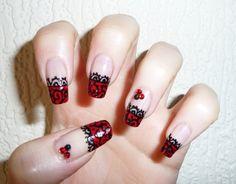 black nail art | RED AND BLACK LACE NAIL ART
