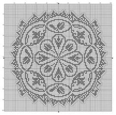 Round 12 | Free chart for cross-stitch, filet crochet | Chart for pattern - Gráfico