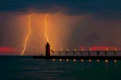 electrical彡 Grand Haven, Michigan. Lightning on water outside Grand Haven, Ottowa County, Michigan