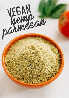Make your own vegan parmesan cheese with hemp seeds. It's the perfect cheesy topping for pizza, pasta, veggies, salads, popcorn and more.
