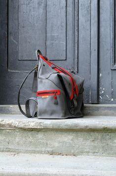 ee1463519485d leather handmade backpack   bag shoulder bag ladybuq Gray  Red