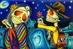Noche de los Muertos by Dave Sanchez Canvas Giclee  tattoo mexican sugar skull love grave graveyard tombstone night moon flower