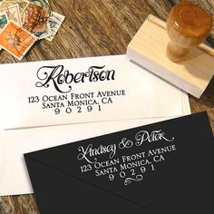 Custom Return Address Stamp with a calligraphy script by Designkandy on Etsy, $24.95