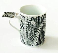 Black and white mug zentangle doodle porcelain by KilnFiredArt, £12.00