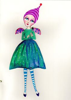 original art - assembled paper doll. One of a kind. by PlaynJaneheartist on Etsy