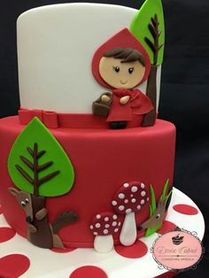 Chapeuzinho vermelho Little Girl Birthday, Birthday Cake Girls, Birthday Balloons, 2nd Birthday, Fondant Cakes, Cupcake Cakes, Red Riding Hood Party, Birthday Cake Decorating, Noel Christmas