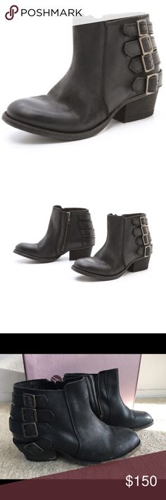 Hudson Encke Calf Ankle Boots Moto ankle boots with a zipper in a coal color. Great for every day casual wear. H By Hudson Shoes Ankle Boots & Booties