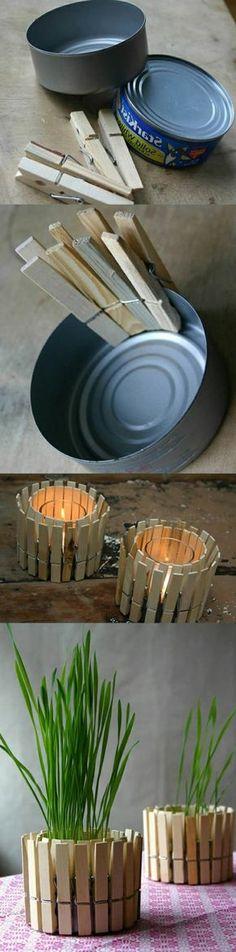 tutoriel, recyclage boite de conserve, projet avec des pinces a linge bois, bougeoir ou cache-pot, bricolage facile