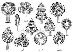Sada ručně kreslenou vektorové stromů ve stylu doodle — Stocková ilustrace #81667582
