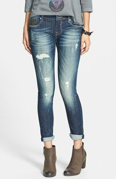 Vigoss 'Thompson' Sequin Pocket Skinny Jeans (Dark) (Juniors) (Online Only) available at #Nordstrom