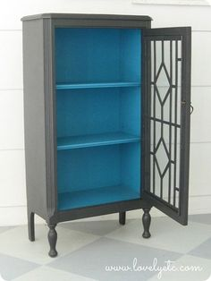 charcoal and turquoise cabinet - love this for my bedroom! (Can you paint wood veneer?)